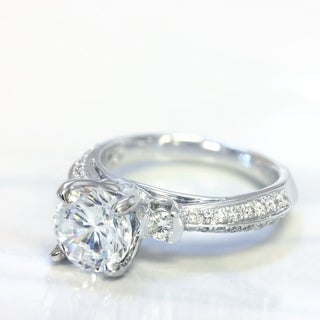 Lihara and Co. 18k White Gold 2/5ct TDW Cubic Zirconia Center and Diamond Engagement Ring (G-H, VS1-VS2)