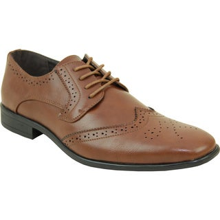 BRAVO Men Dress Shoe KING-2 Wingtip Oxford BROWN - Wide Width Available