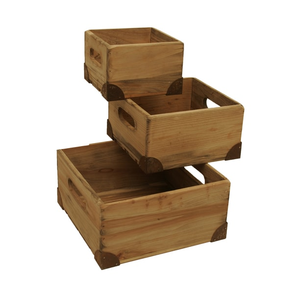 Weathered Pine Box with Rusted Metal Accents and Liners Small, Medium & Large (Set of 3)