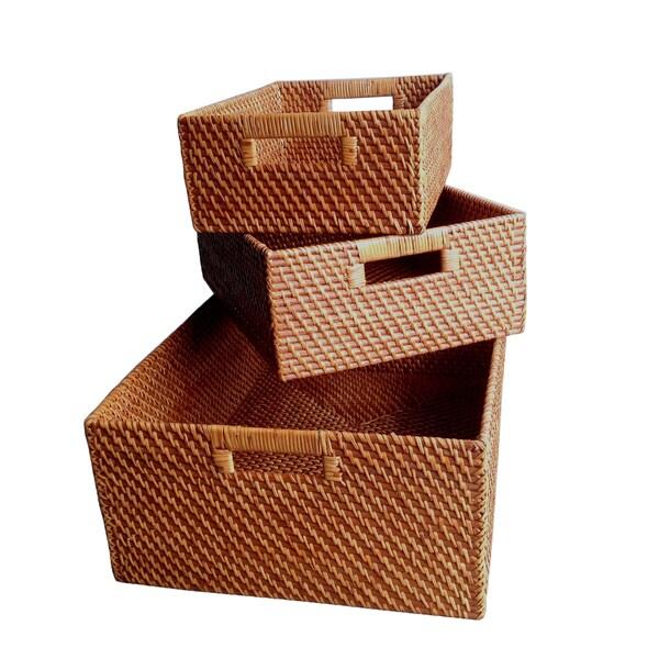 Wald Imports Brown Rattan Decorative Nesting Storage Baskets Set Of