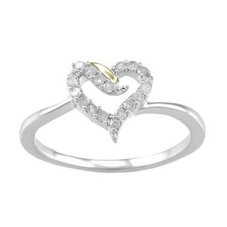 Two Tone Sterling Silver 0.15ct TDW Diamond Heart Promise Ring