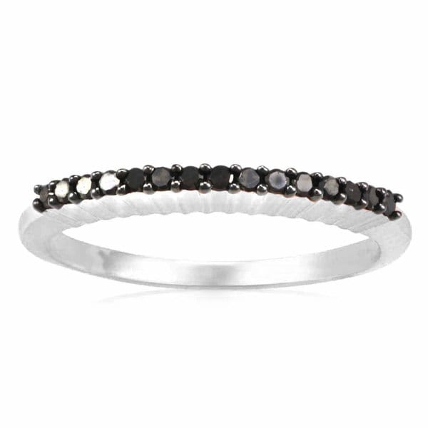 Sterling Silver 0.15ct TDW Black Diamond Stack Band Ring