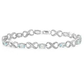 Sterling Silver 4 5/8ct TGW Blue Topaz and Diamond Accent Infinity Link Bracelet (I-J, I2-I3)
