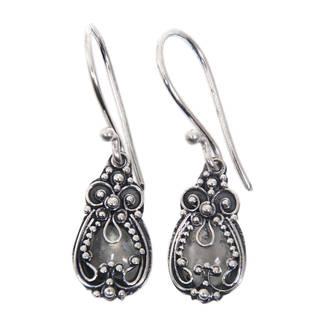 Sterling Silver 'Moon Flowers' Moonstone Earrings (Indonesia)