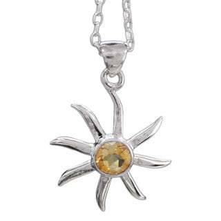 Handcrafted Sterling Silver 'Golden Sun' Citrine Necklace (India)