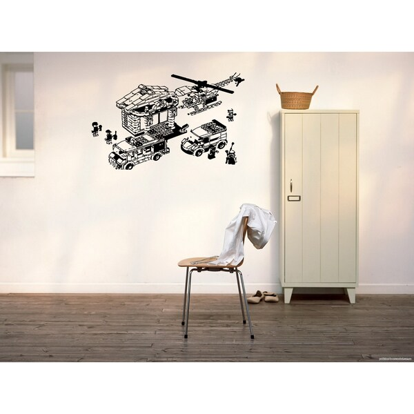 City and Helicopter Wall Art Sticker Decal