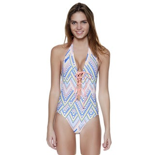 Dippin' Daisy's Multi Aztec Lace Up and Low Back One Piece Swimsuit
