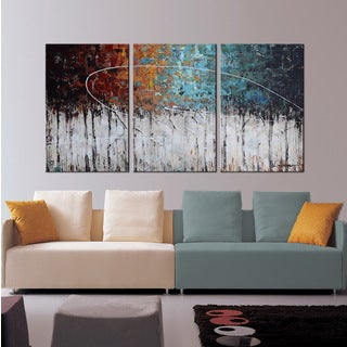 Hand-painted 'Winter Forest' 3-piece Gallery-wrapped Canvas Art Set