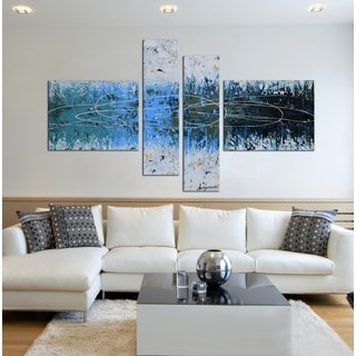 Hand-painted 'Snow Lake' 4-piece Gallery-wrapped Canvas Art Set