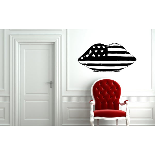 Lips American flag Wall Art Sticker Decal