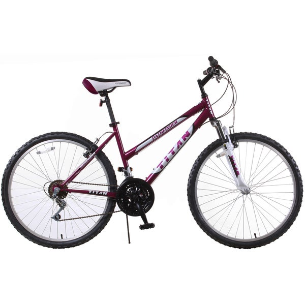 Pathfinder Purple Women's 18-Speed Mountain Bike with 17-Inch Frame and Front Suspension Fork