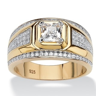 PalmBeach 14k Gold over Silver Men's Square-cut and Pave Cubic Zirconia Ring