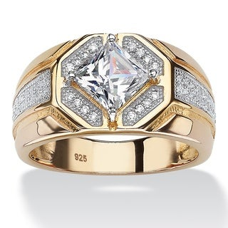 PalmBeach 14k Gold over Silver Men's Square Cubic Zirconia Octagon Ring