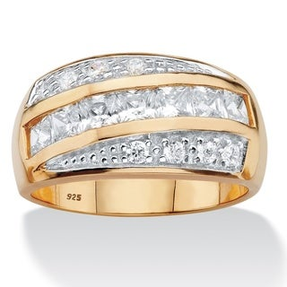 PalmBeach 14k Two-tone Gold over Silver Men's Square Cubic Zirconia Channel Ring