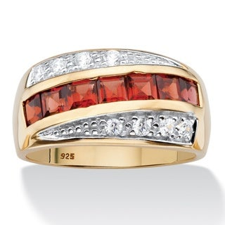 PalmBeach 14k Gold over Silver Men's Square-cut Garnet and Pave Cubic Zirconia Channel-set Ring