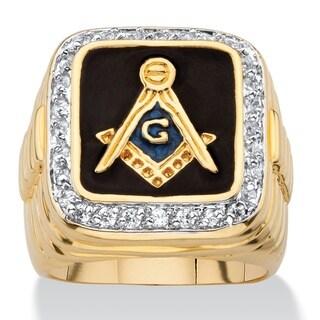 PalmBeach 14k Yellow Gold Overlay Men's Enamel and Cubic Zirconia Masonic Ring
