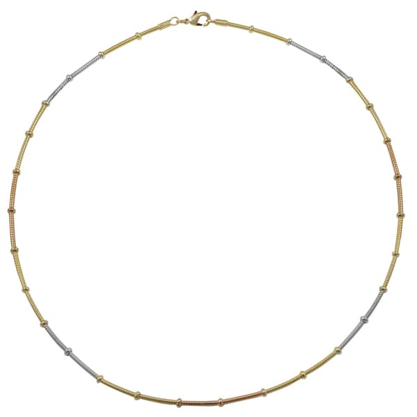 Tri-color Gold and Rhodium Finish Wire Choker Necklace