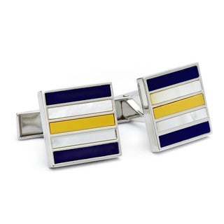 Rhodium-plated Brass Mother of Pearl Cufflinks