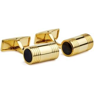 Hart Schaffner & Marx Goldplated Barrel Cufflinks with Onyx