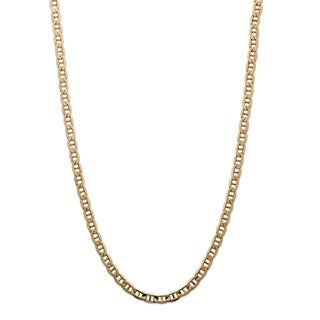 PalmBeach 14k Yellow Gold Men's 3.5mm Mariner Link Chain Necklace
