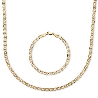 PalmBeach 14k Yellow Gold over Silver Men's Mariner Link 2-piece Chain and Bracelet Set