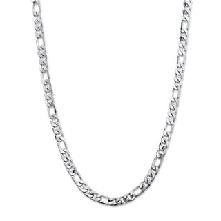 PalmBeach Silver Overlay Men's Figaro Link 6.5mm Classic Chain Necklace