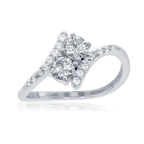 La Preciosa Sterling Silver 2-stone Cubic Zirconia Twist Ring