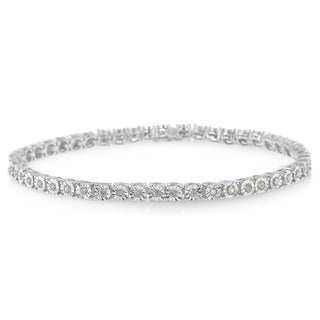 Sterling Silver 1ct TDW Rose-cut Diamond Tennis Bracelet (I-J, I2-I3)
