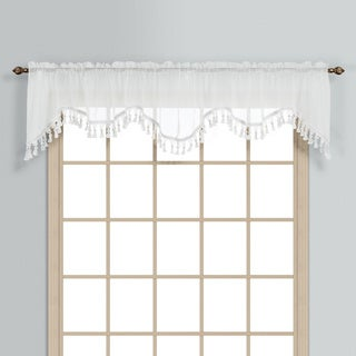 Monte Carlo Coordinating Sheer Voile Scalloped Pleated Valance Topper