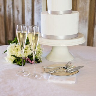 Mr. & Mrs. 7 oz. Silver Rim Champagne Flutes and Personalized Keepsake Cake Serving Set