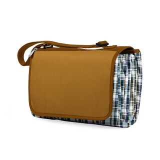 Picnic Time English Plaid Brown Flap XL Blanket Tote