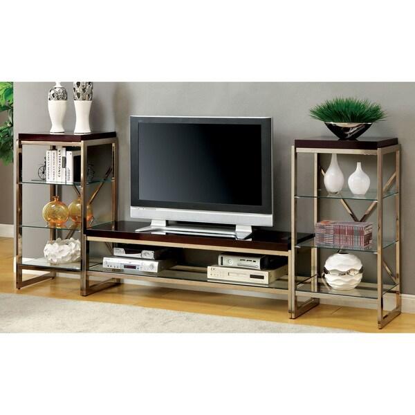 Brisa Entertainment Unit: Furniture Of America Jacie Contemporary 3-piece Gold