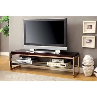 Furniture of America Jacie Contemporary Champagne 60-inch TV Stand with USB/Power Outlet