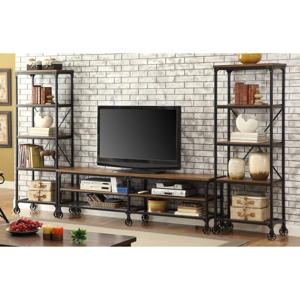Furniture of America Daimon II Industrial 3-piece Medium Oak 81-inch Entertainment Unit