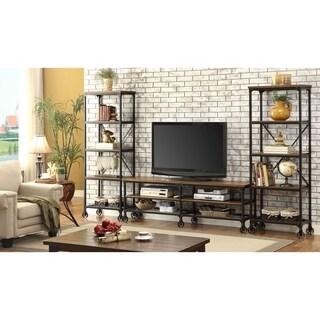 Furniture of America Daimon II Industrial 3-piece Medium Oak 72-inch Entertainment Unit