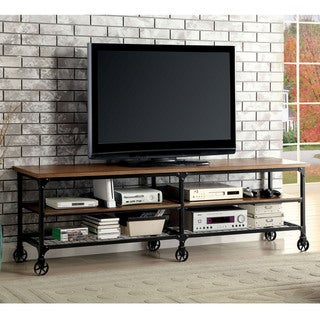 Furniture of America Daimon II Industrial Medium Oak TV Stand