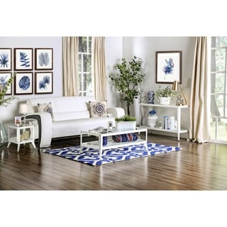 Furniture of America Linden Modern 3-piece Glass Top Metal Accent Table Set