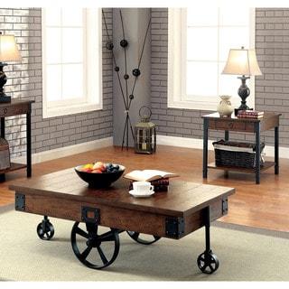 Furniture of America Carpenter Rustic 2-piece Weathered Oak Accent Table Set