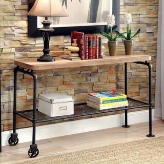 Furniture of America Galbus Industrial Black Metal 1-shelf Sofa Table