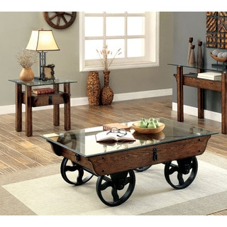 Furniture of America Charlotte Rustic 2-piece Glass Top Accent Table Set