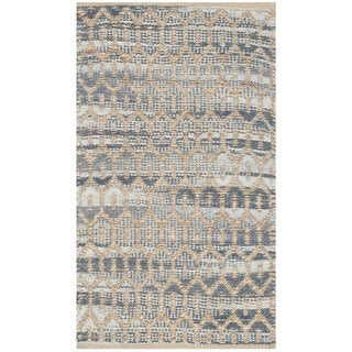 Safavieh Hand-Woven Cape Cod Natural/ Grey Cotton Rug (2'3 x 3'9)