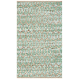 Safavieh Hand-Woven Cape Cod Natural/ Teal Cotton Rug (2'3 x 3'9)