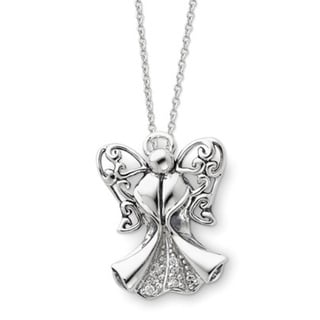 Versil Sterling Silver Cubic Zirconia Antique Angel of Strength Necklace 17604519