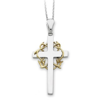 Versil Gold over Silver No Greater Love Cross Necklace
