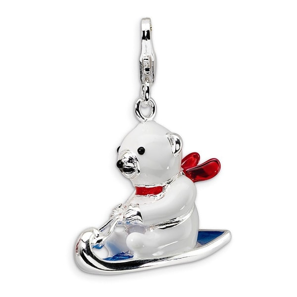 Versil Sterling Silver 3D Enamel Polar Bear on Sled Charm