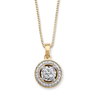 PalmBeach 14k Gold over Silver Diamond Accent Halo-Style Pendant Necklace