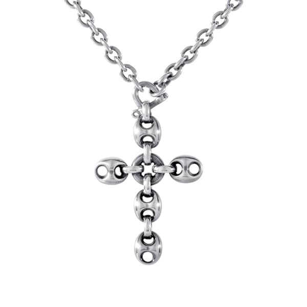 Gucci Marina Chain Sterling Silver Crucifix Pendant Necklace