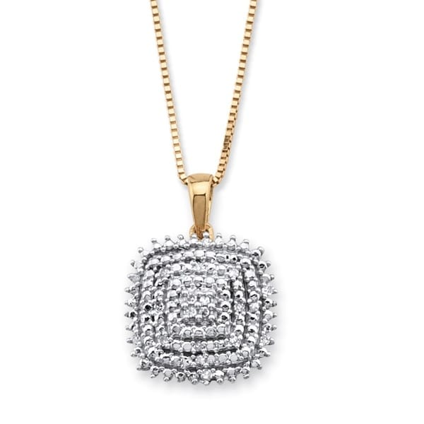 PalmBeach 14k Gold over Silver Round Diamond Accent Square Cluster Pendant Necklace