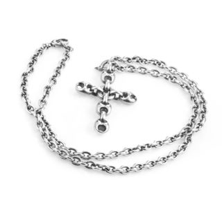 Gucci Sterling Silver Link Crucifix Necklace