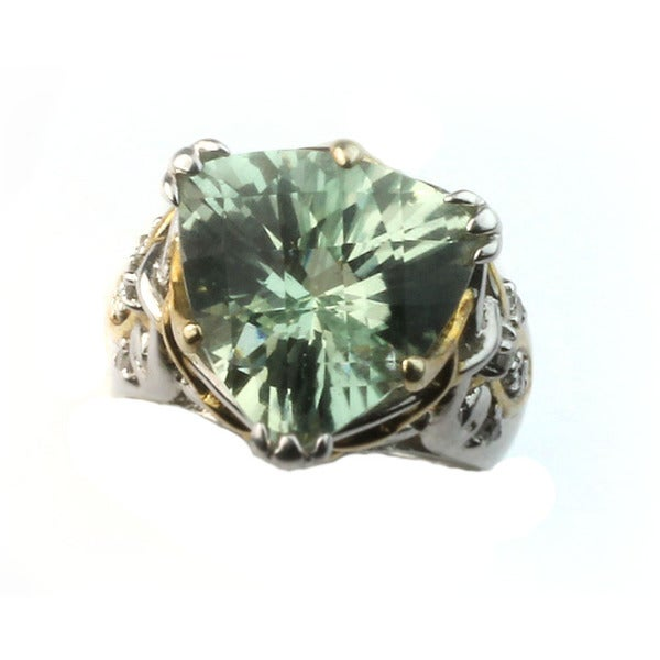 Copy of Michael Valitutti Palladium Silver Green Amethyst Ring